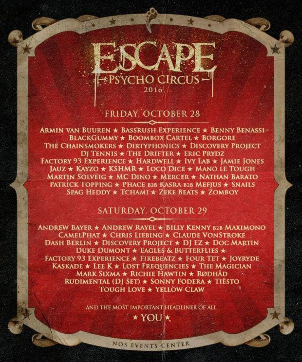 Insomniac's Escape Psycho Circus Lineup 2016