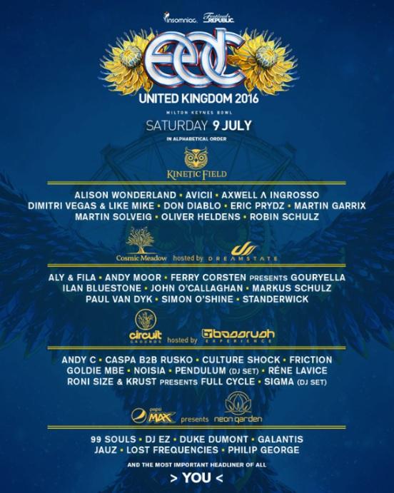 EDC UK 2016 Line Up