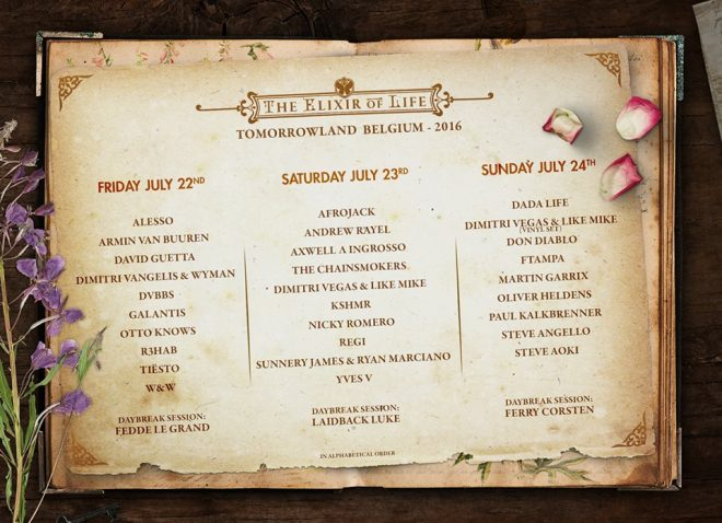 Tomorrowland 2016 Line Up