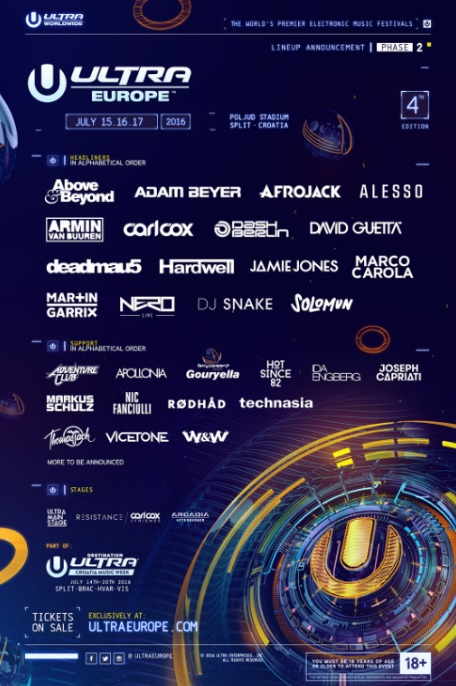 ultra europe 2016 line up ravejungle