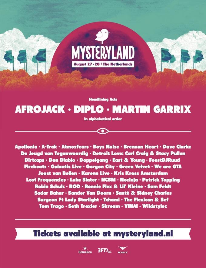 Mysteryland lineup 2016