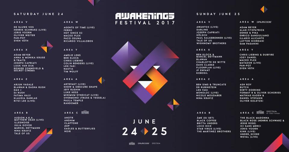 Awakenings Festival, Lineup 2017