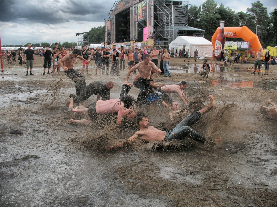ravers in the mud