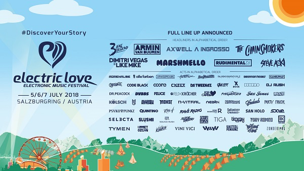 electric love 2018 lineup