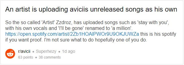 Swedish producer rips off unreleased Avicii music and fans are pissed!